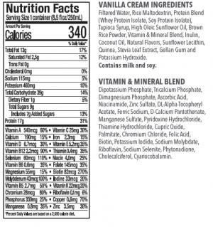 ENU Vanilla Shakes Ingredients