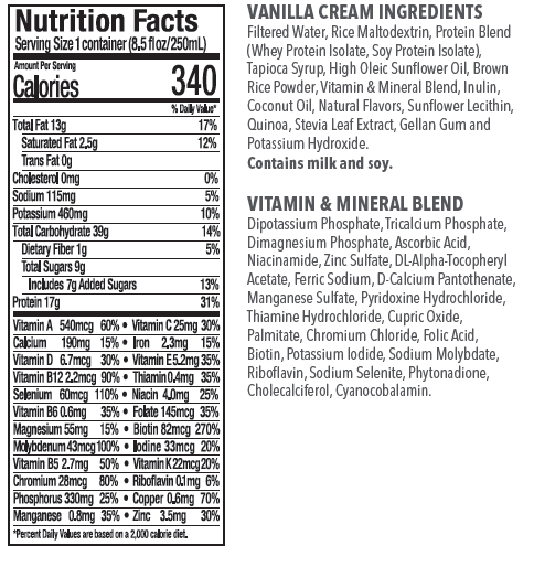 VANILLA NUTRITION - Ingredients